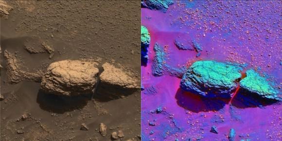 Stone mountain rock outcrop in true and false colour. Image credit: NASA/JPL