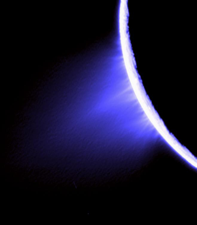 Enceladus' water ice plumes were first observed by Cassini in 2005. (NASA/JPL/SSI)