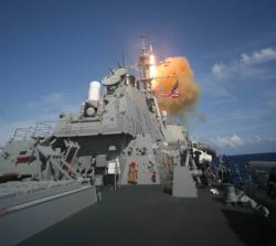 The USS Decatur during ballistic missile tests in June 22, 2007 (Credit: USS Decatur/US Department of Defence)
