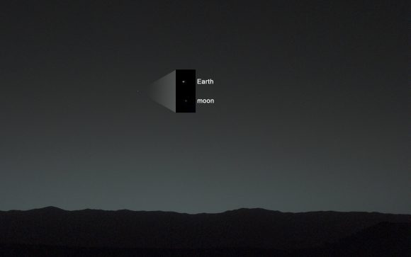 Image taken by NASA's Curiosity Mars rover, showing Earth and the Moon shining in the night sky. Credit: NASA/JPL