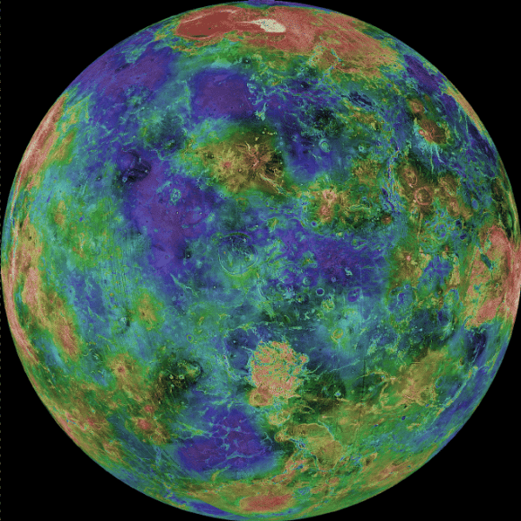 False color radar topographical map of Venus provided by Magellan. Credit: Magellan Team/JPL/NASA