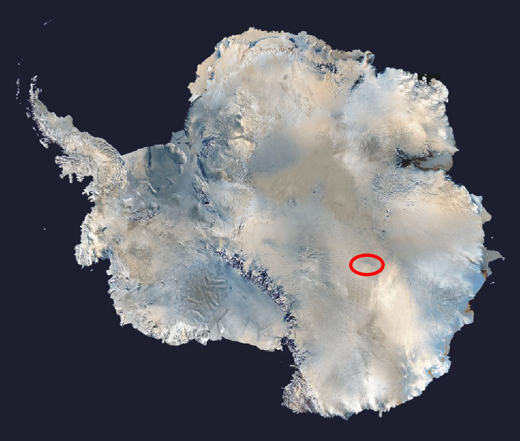 Lake Vostok, Antarctica, indicated in red. Credit: