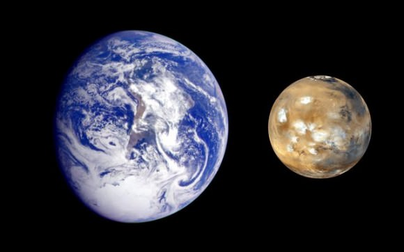 Composite image showing the size difference between Earth and Mars. Credit: NASA/Mars Exploration