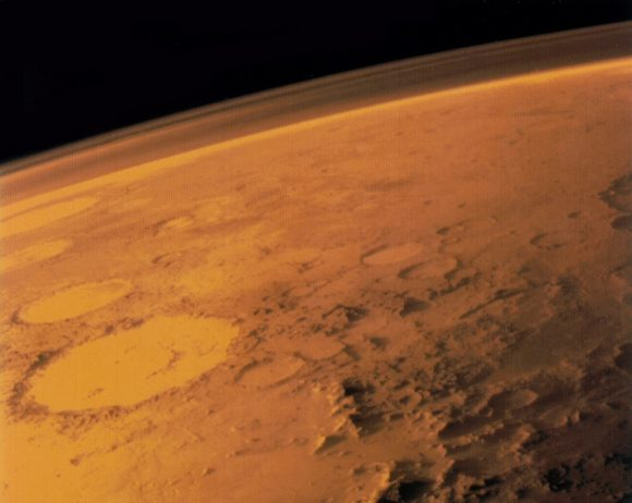 Image taken by the Viking 1 orbiter in June 1976, showing Mars thin atmosphere and dusty, red surface. Credits: NASA/Viking 1