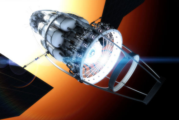 Vacuum to Antimatter Rocket Interstellar Explorer System, is a concept from Richard Obousy that would use enormous solar arrays to generate power for extremely powerful lasers, which, when fired at empty space, would create particles of antimatter which could be stored and used as fuel. The process would be used at the vehicle's destination to create fuel for the return journey. Credit: Adrian Mann