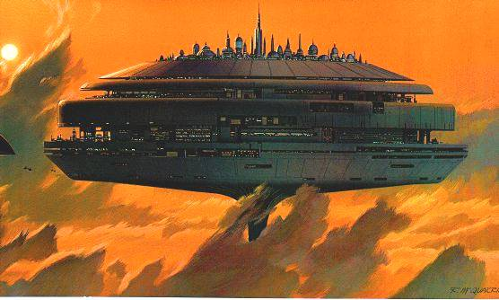 Cloud city of Bespin, from Stars Wars. Credit and copyright: Ralph McQuarrie