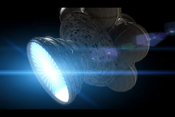 Daedalus' Deuterium/Helium 3 fuel pellets are injected into the engine, where they are hit by electron beams, compressing them to the point that fusion occurs. Magnetic fields contain the expanding plasma. Credit: Adrian Mann