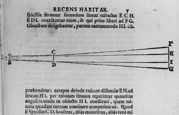 Diagram of Galileo's telescope, taken from Sidereus Nuncius. Credit: hps.cam.ac.uk