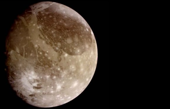 Ganymede is the largest satellite in our solar system. It is larger than Mercury and Pluto, and three-quarters the size of Mars. Astronomers using the Hubble Space Telescope found evidence of thin oxygen atmosphere on Ganymede in 1996. The atmosphere is far too thin to support life as we know it. Credit: NASA/JPL