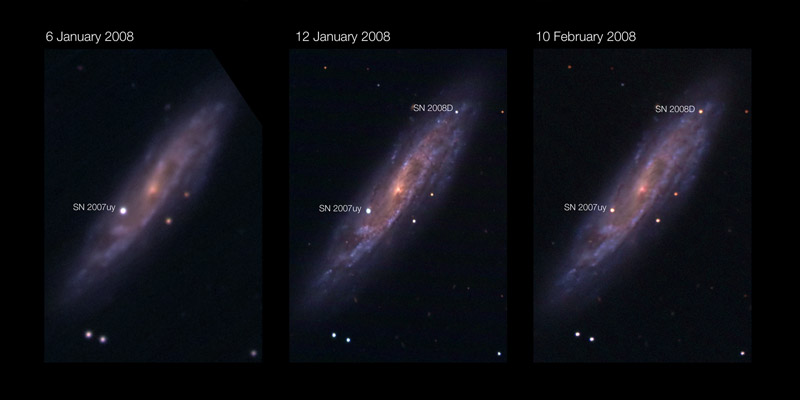 Spiral galaxy NGC 2770 with two supernovae SN 2007uy and SN 2008D. Credit: NASA
