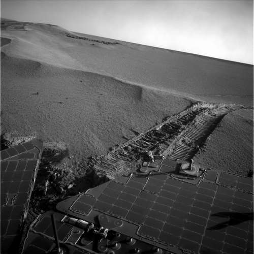Opportunity on the way out of Victoria.  Credit:  NASA/JPL