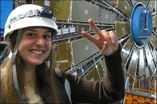 Kate McAlpine at the LHC.  Credit:  Telegraph