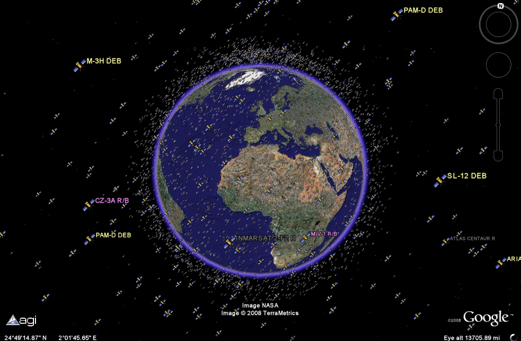 It's getting crowded out there: active and inactive satellites are tracked (Google/Analytical Graphics)