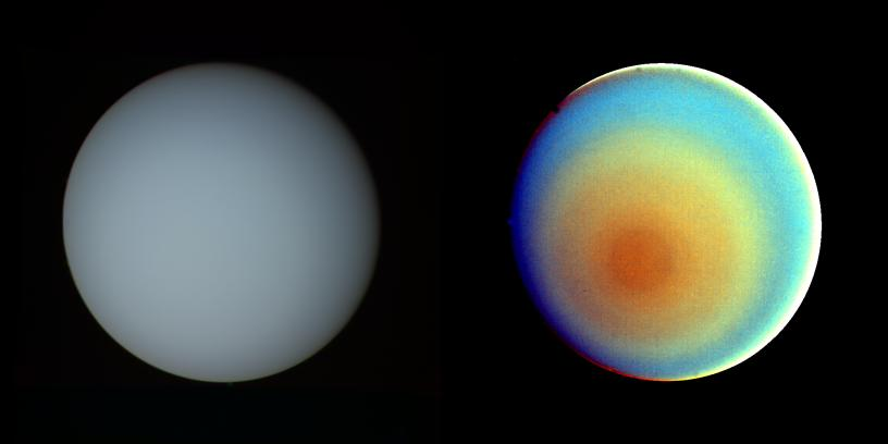True-color and false-color image of Uranus. Credit: NASA/JPL