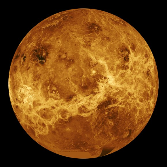 A radar view of Venus taken by the Magellan spacecraft, with some gaps filled in by the Pioneer Venus orbiter. Credit: NASA/JPL