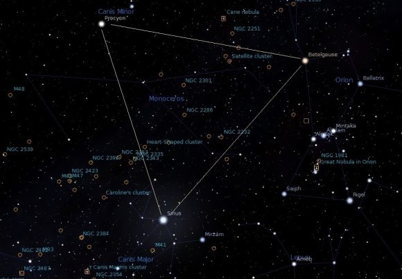 The Winter Triangle. Credit: constellation-guide.com/Stellarium software