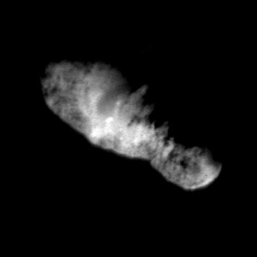 comet Borrelly's 5-mile (8-kilometer) long nucleus taken from more than 2,000 miles (3,400 kilometers) away. Picture from NASA's Deep Space 1 probe. Credit: NASA/JPL