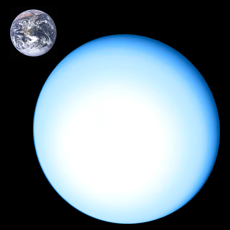 Uranus Compared to Earth. Image credit: NASA