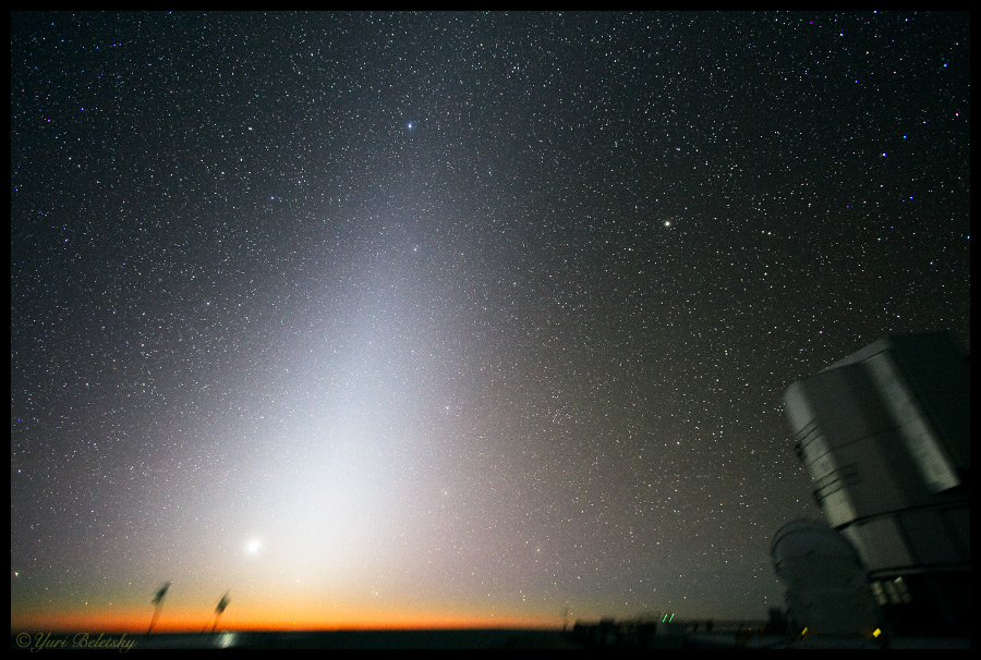 Zodiacal light can be seen in the sky before sunrise or after sunset. Credit: Yuri Beletsky/ESO Paranal