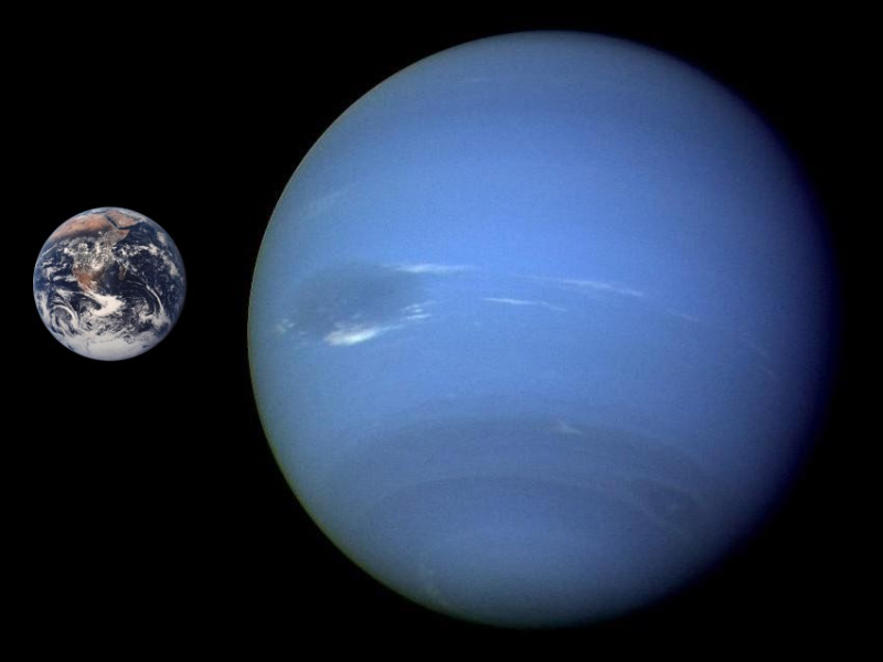 Neptune compared to Earth. Image credit: NASA