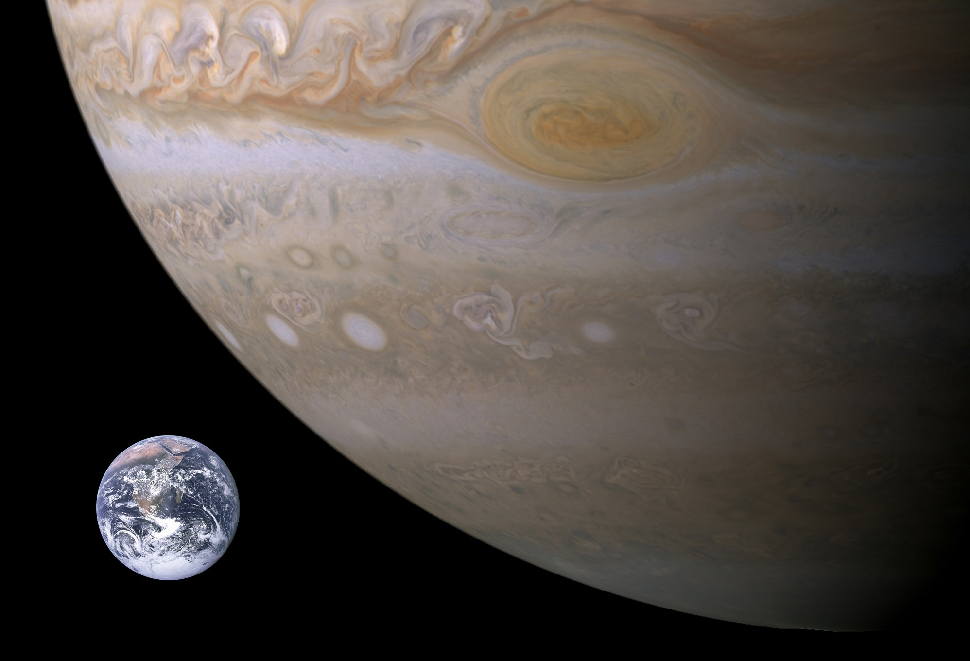 jupiter compared to earth universe today
