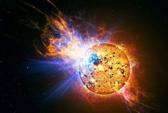 An artist depicts the incredibly powerful flare that erupted from the red dwarf star EV Lacertae. Credit: Casey Reed/NASA