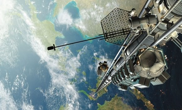 Artist concept of a space elevator