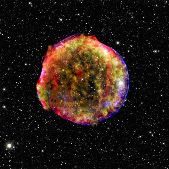 Tycho's Supernova Remnant. Credit: Spitzer, Chandra and Calar Alto Telescopes.