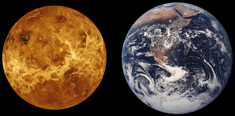 Atmosphere of earth compared to venus