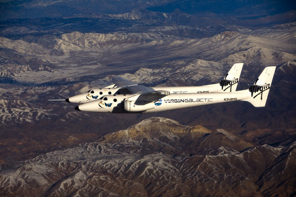 WhiteKnightTwo in flight.  Credit: Virgin Galactic