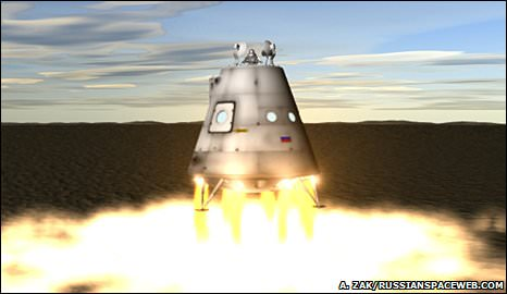 The future Russian capsule could land on a bright rocket plume. Credit: Anatoly Zak, Russianspaceweb.com