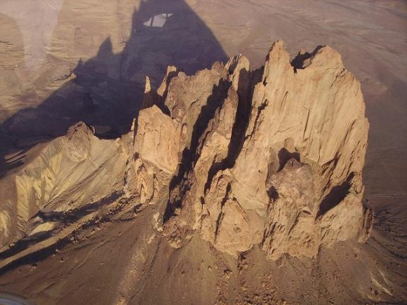 An aerial image of the Shiprock extinct volcano. Credit: Wikipedia Commons