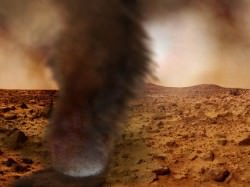 An illustration of a dust storm on Mars. Credit: Brian Grimm and Nilton Renno