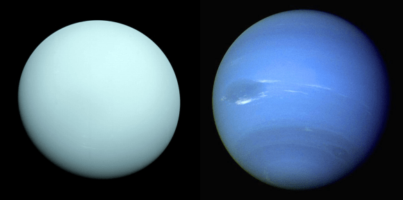Uranus and Neptune, the Solar System's ice giant planets. Credit: Wikipedia Commons