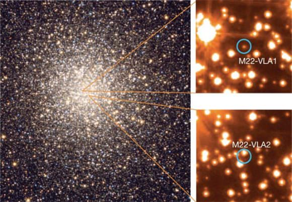 These are optical images of M22 and the candidate companion stars to the radio sources M22-VLA1 and M22-VLA2: the globular cluster M22, on the left, and the location of the radio sources on archival Hubble images. Credit: Doug Matthews/Adam Block/NOA/AURA/NSF/HST/NASA/ESA