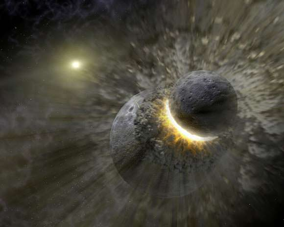 A collision between planets could be the reason for the debris field around HD 181327. Credit: NASA/JPL-Caltech