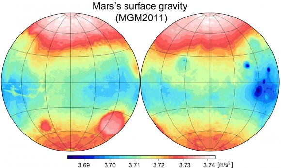 Fig. 2 Variations of gravity accelerations over Mars's surface. Azimuthal equidistant projection with a central meridian of 0° longitude (right) and 180° (left). Data shown is from MGM2011.