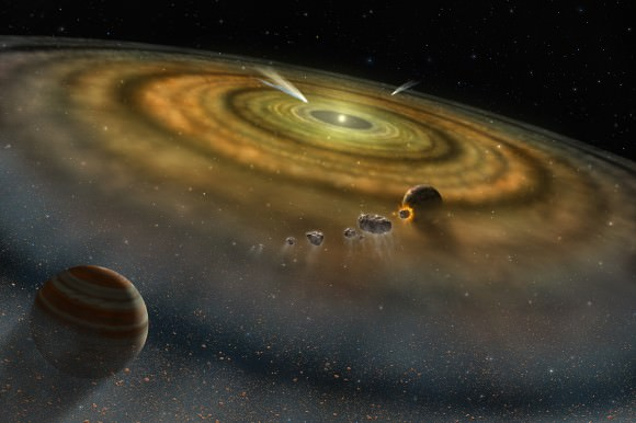 Artist's conception of a solar system in formation. Credit: NASA/FUSE/Lynette Cook