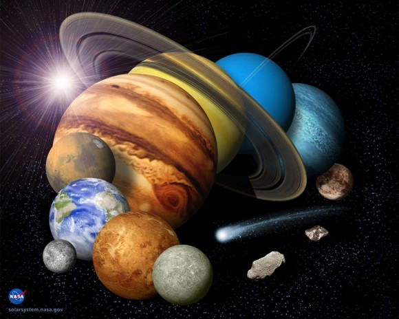 A montage of planets and other objects in the solar system. Credit: NASA/JPL