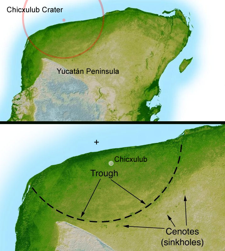 The Chicxulub crater in Mexico. Credit: Wikipedia/NASA