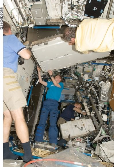 New freezer installed in the ISS. Credit: NASA