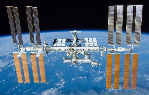 The International Space Station, photographed by the crew of STS-132 as they disembarked. Credit: NASA
