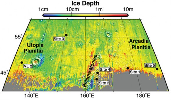 This map shows five locations where fresh impact cratering has excavated water ice from just beneath the surface of Mars (sites 1 through 5) and the Viking Lander 2 landing site (VL2), in the context of color coding to indicate estimated depth to ice.  Image Credit: NASA/JPL/University of Arizona