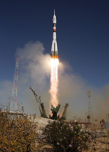 Soyuz launch on Sept. 30.  Credit: NASA/Bill Ingalls.