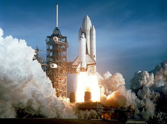 Space Shuttle Columbia launching on its maiden voyage on April 12th, 1981. Credit: NASA