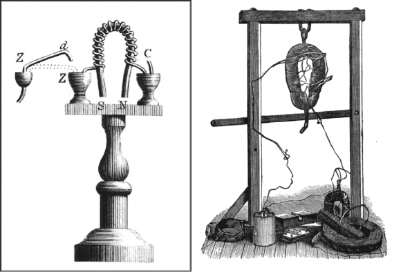 Illustration of Sturgeon's electromagnet (1924) and one of Henry's improved designs (1830s). Credit: Smithsonian/ Scientific American