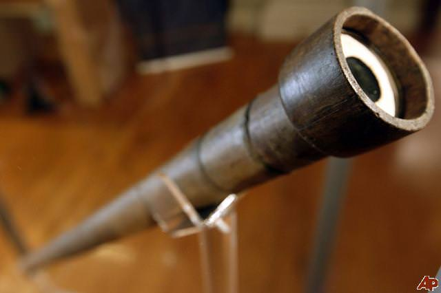 Galileo Galilei's telescope with his handwritten note specifying the magnifying power of the lens, at an exhibition at The Franklin Institute in Philadelphia. Credit: AP Photo/Matt Rourke