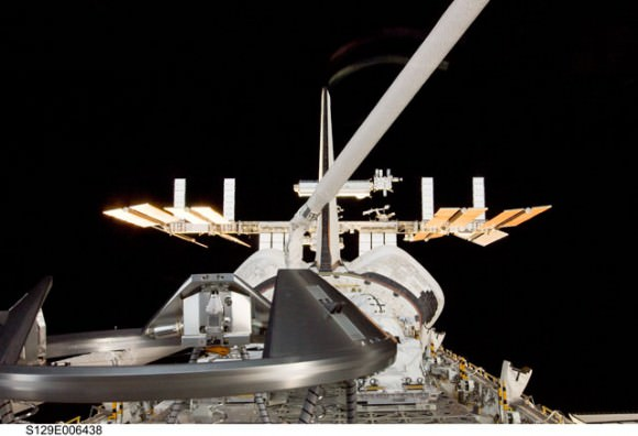 Starship Enterprise?  No, just the space shuttle and space station. Credit: NASA