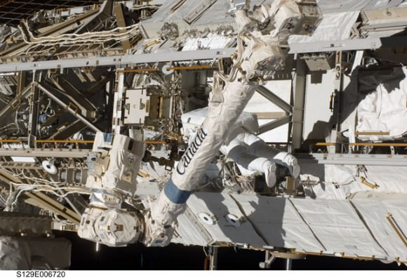 Satcher works on the Z1 truss.  Credit: NASA