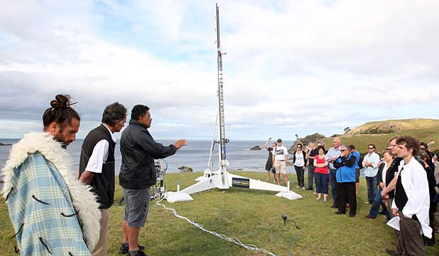 The first rocket launched by a private space company from New Zealand was attended by a crowd of about 50 spectators. Image Credit: Waikato Times